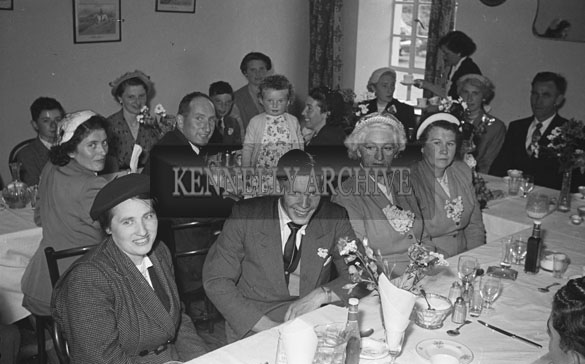 August 1954; A Group Posing For The Camera At Their Table At A Wedding In The Meadowlands Hotel, Tralee.