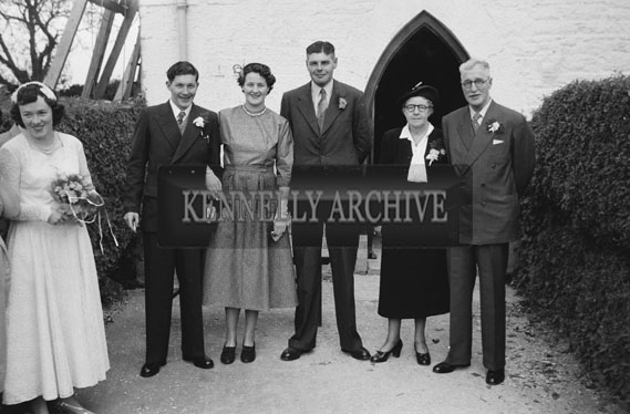 September 1954; The Newlyweds Posing With The Wedding Group At Their Wedding At St Catherine's Church, Tralee.