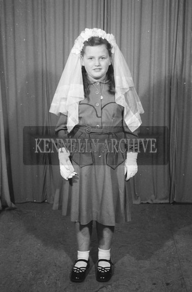 September 1954; A Studio Photo Of A Confirmation Girl.