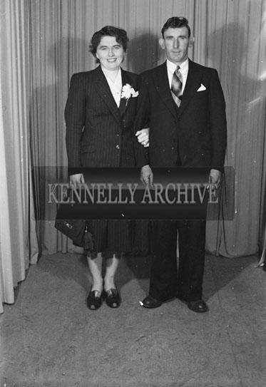 September 1954; A Studio Photo Of A Wedding Couple.