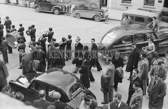 3rd October 1954; St Joseph's Boy Band playing in Denny Street, Tralee.