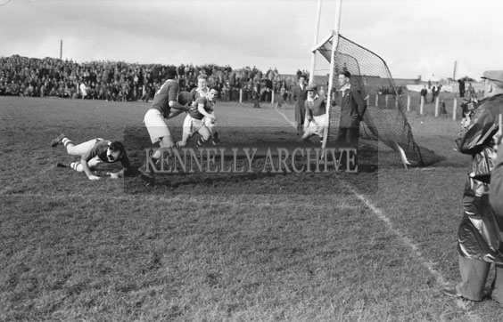 19th September 1954; The action in front of the goal during the Senior County Football Final in Austin Stack Park. Kerins O'Rahillys beat Kenmare 2-1 To 1-2.