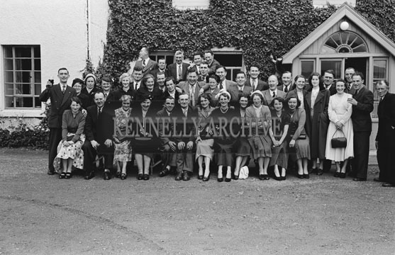 September 1954; A photo taken outside the Meadowlands Hotel in Tralee at a wedding reception.