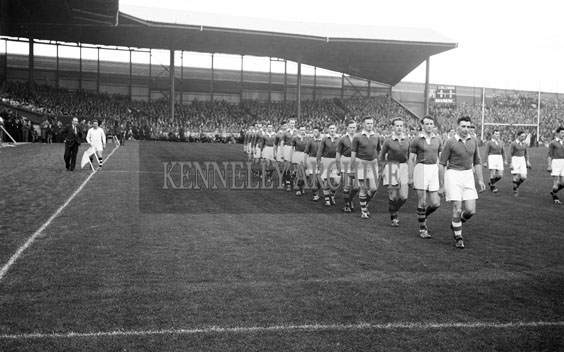 26th September 1954; The Teams Marching Onto The Pitch At The All-Ireland Senior Football Final Between Kerry And Meath At Croke Park In Dublin. Meath Beat Kerry 1-13 To 1-7.