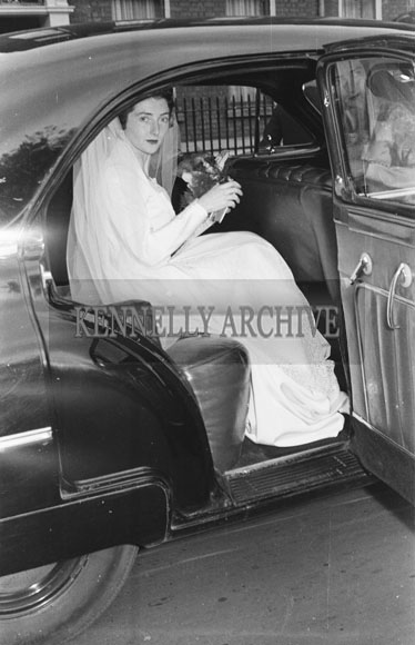 October 1954; The Bride Getting Out Of The Car At The Michael And Joan Glazier Wedding In Dublin.