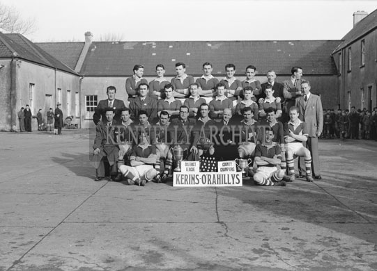 October 1954; Committee Members of Kerins O'Rahillys GAA Club, The 1954 District League and County Champions, outside St Joseph's Industrial School in Tralee.