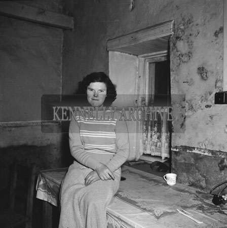 November 1954; A Lady Who Won A Sunday Press Crossword Competition, Posing For The Camera.