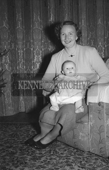 December 1953; Mrs Teresa Fitzmaurice With Her Baby Mary At Home During Christmas.