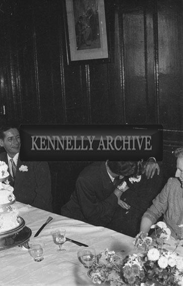 November 1954; At The Griffin/Cotter Wedding, The Newlyweds Kiss At Their Wedding Reception In The Grand Hotel, Tralee.