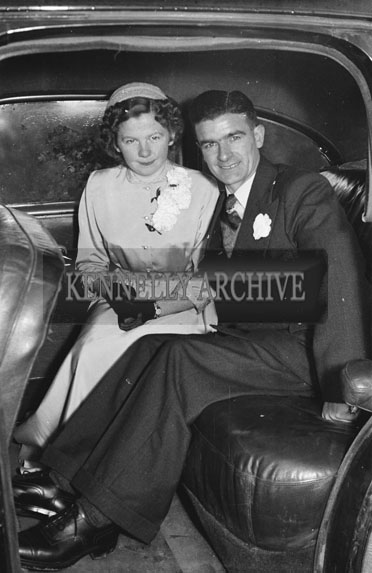 1954; The Newlyweds At Miss Hurley's Wedding Of Strand Street, Tralee, At St Catherine's Church, Tralee.