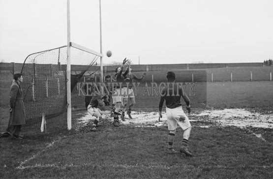 28th November 1954; An Action Shot From The Tralee CBS Vs St Brendan's Killarney Game In The O'Sullivan Cup Final. Tralee CBS Won 4-2 To 0-0 At Austin Stack Park In Tralee.