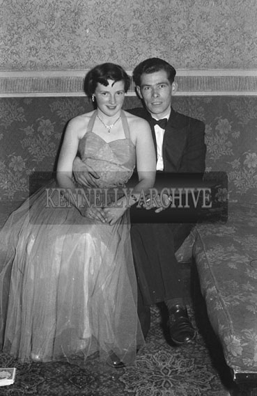 8th December 1954; A Couple Posing For The Camera At The Tralee Tennis Dance Held At The Lake Hotel In Killarney.