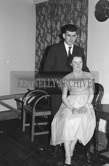 11th December 1954; A Couple Posing For The Camera At The Kerins O'Rahilly's Social In The Meadowlands Hotel, Tralee.