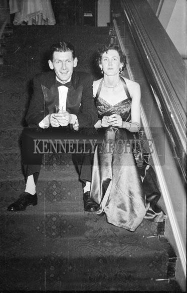 December 1955; A Couple Sitting On The Stairs At The Tralee Rugby Club Dance In Killarney.
