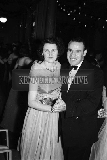 December 1955; A Couple Posing For The Camera At The Tralee Rugby Club Dance In Killarney.