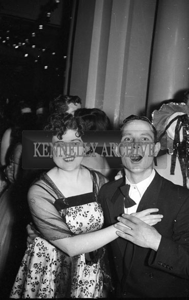 December 1955; Joe Treacy and friend at the Tralee Rugby Club Dance In Killarney.