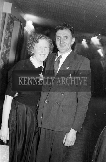 January 1956; A Couple dancing at the Ballymacelligott Young Farmer's Social at the Meadowlands Hotel, Tralee.