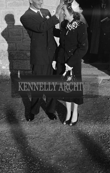 1956; A photo taken at the O'Halloran Wedding which took place at The Church Of The Immaculate Conception in Tralee.