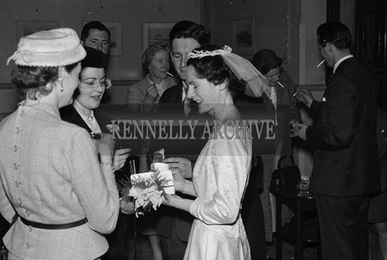 August 1956; A photo taken at the Walsh/Doyle wedding which took place in the Cathedral and was followed by the reception at the Lake Hotel in Killarney.