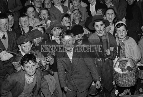 6th August 1956; A group of children in fancy dress who participated in the Hobo Parade at the CYMS Carnival in Tralee.