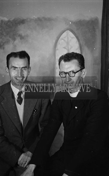 6th August 1956; A photo of Reverend Father Ryan and Ned Ryan BDS, taken at the studio in Tralee.