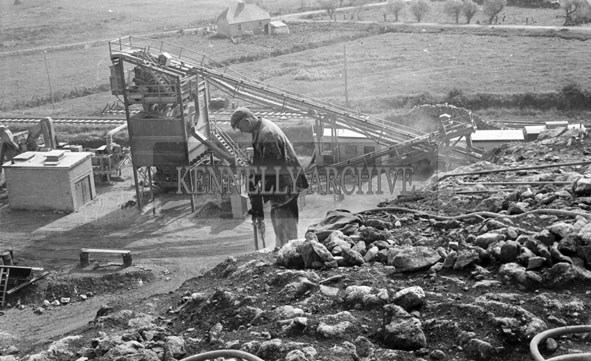 1956; A photo taken at the quarry in Lixnaw during the construction of the  Feale