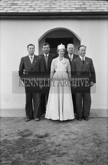 4th February 1956; Annie Mai Donegan, The Queen Of Plough With Con Slattery, Mr. Donegan And Billy Benner, The Fordson Major Diesel Tractors Agent, And Another Gentleman In Causeway.