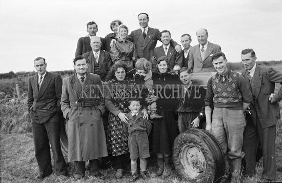 4th February 1956; Annie Mai Donegan, The Queen Of Plough With Con Slattery, Mr. Donegan And Billy Benner, The Fordson Major Diesel Tractors Agent, With Other Friends And Family In Causeway.