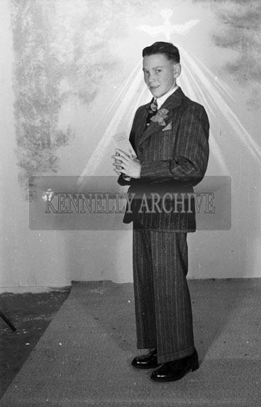 16th September 1956; A studio photo of a boy from St Joseph's Industrial School in Tralee on Confirmation Day.