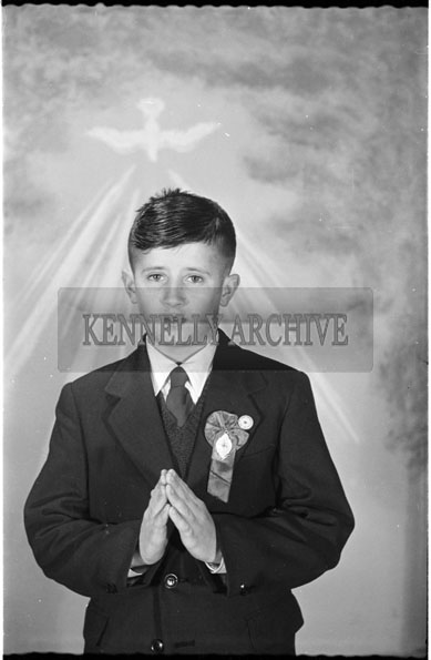 16th September 1956; A photo of Master Cleary from 31 Stacks Villas taken on Confirmation Day in Tralee.