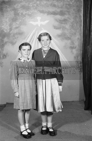 16th September 1956; A photo of Miss Fitzgerald and her sibling taken on Confirmation Day in Tralee.