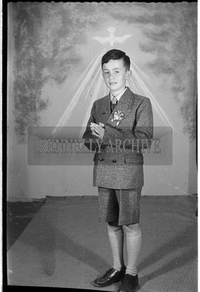 16th September 1956; A photo of Master Moriarty from Lisloose taken on Confirmation Day in Tralee.