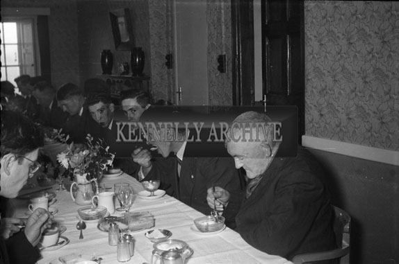 5th January 1956; The Wedding Group Enjoying The Meal At Alex O'Donnell's (Of Stradbally) Wedding Reception In The Meadowlands Hotel, Tralee.