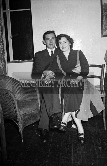6th January 1956; A Couple Posing For The Camera At The Kerryman Social In The Meadowlands Hotel, Tralee.