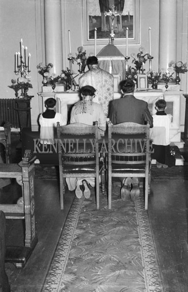 January 1956; Fr. Micheál Galvin, brother of the groom, celebrates Mass at Tunney Galvin (of Grand National fame) and Aine Dineen's wedding In Dublin.