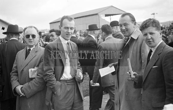 September 1956; Arthur J. O'Leary, Tralee with a group at the Listowel Races.