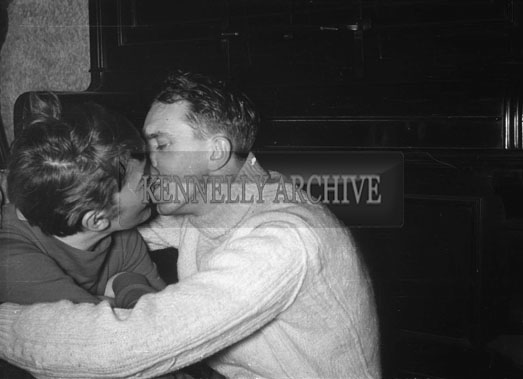 February 1956; A photo of Padraig Kennelly Senior and Joan at a party.