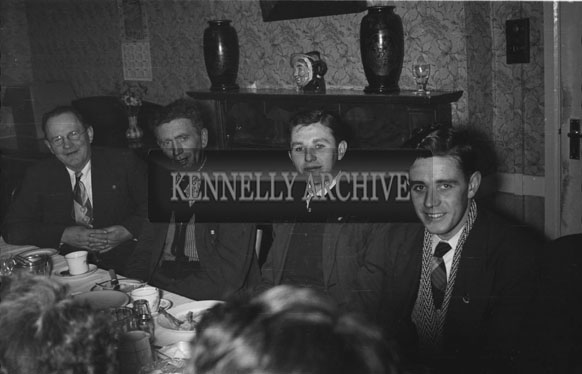 February 1956; Men At Their Table At The Social For The Ploughing Dance Honouring Kerry's National Champions In The Meadowlands Hotel, Tralee.