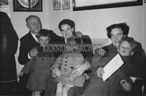 18th February 1956; A Family At St. Mary's Social Celebrating The South Kerry County GAA Championship Team In Caherciveen.