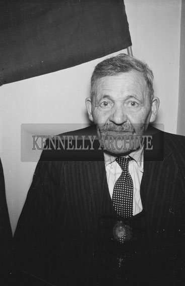 18th February 1956; A Man Posing For The Camera At St. Mary's Social Celebrating The South Kerry County GAA Championship Team In Caherciveen.