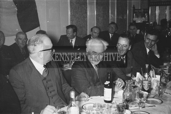 18th February 1956; A Group Of People At Their Table At St. Mary's Social Celebrating The South Kerry County GAA Championship Team In Caherciveen.