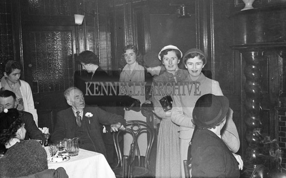 24th October 1956; A photo taken at the Wedding of Mary Galvin to Pat McCarthy which took place at the Church of the Immaculate Conception and was followed by the reception at the Grand Hotel.