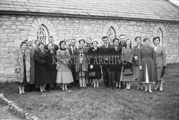 1956; A photo taken at the wedding of Tralee Cyclist Johnny Switzer to Miss O'Connor which took place at The Church Of The Immaculate Conception.