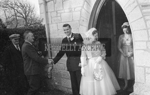 1956; A photo taken at a wedding which took place at The Church Of The Immaculate Conception in Tralee and was followed by the reception in the Meadowlands Hotel.