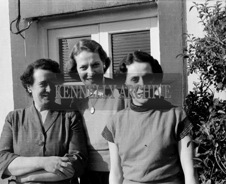 26th February 1956; Three Ladies Posing For The Camera During Eamonn De Valera's Visit To Maurice Lawlor's In Ballymacquin, Co. Kerry, After His Campaign For The By-Elections.