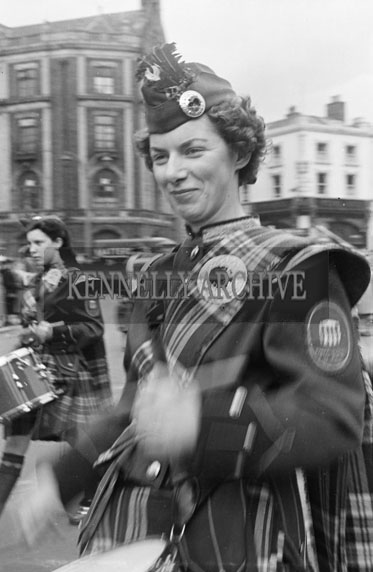17th March 1956; A Pipe Band Heading The St. Patrick's Day Parade In Dublin.