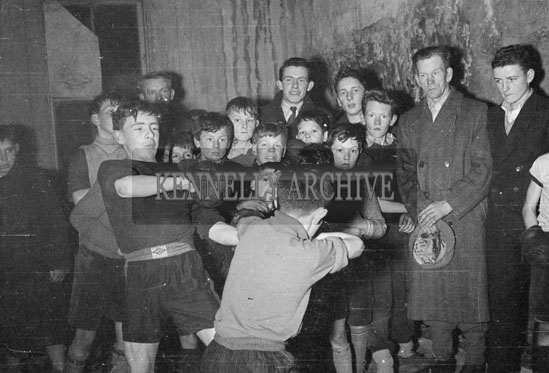 March 1956; A Training Match Between Members At The Desmond Boxing Club, Strand Street, Tralee.
