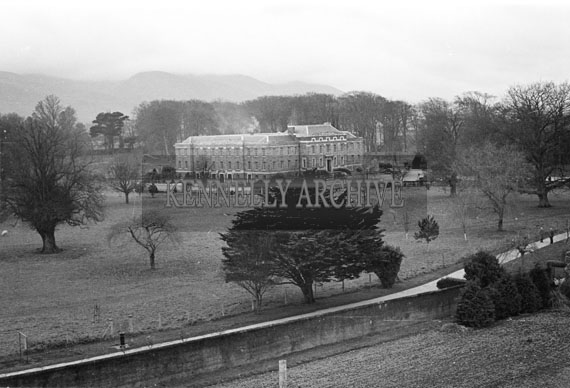 November 1956; An ariel photo taken of the Ashe Memorial Hall from the rooftop of St John's Church in Tralee.