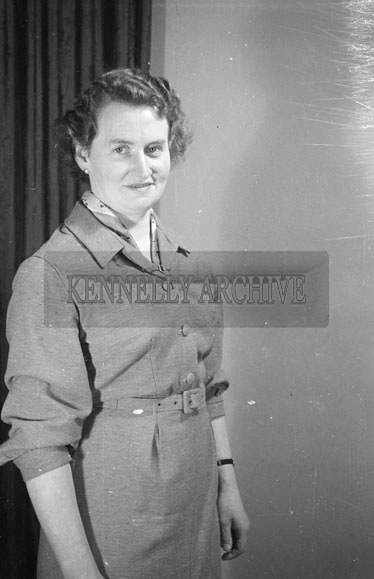 November 1956; A photo of a woman taken at the studio in Tralee.