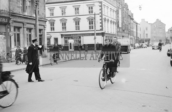March 1956; A Garda On Point Duty At Denny Street In Tralee.